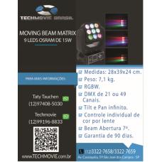 Moving Beam Matrix 9 Leds Osram De 15w Rgbw Quadriled Dmx